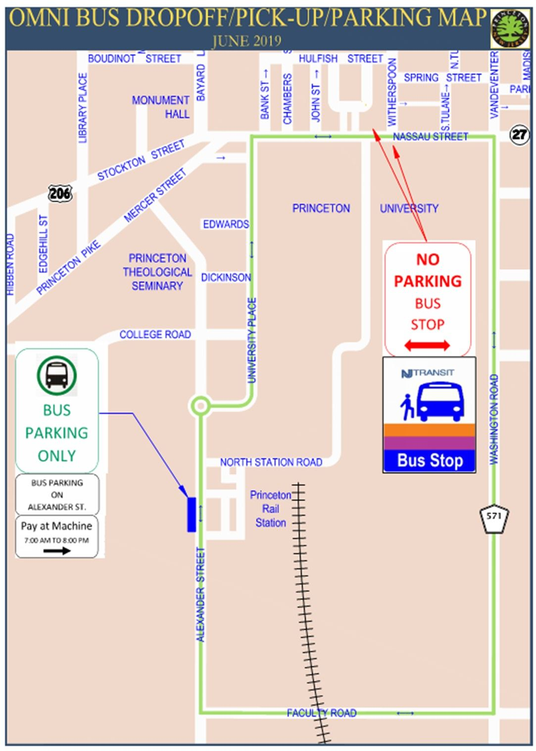 Omnibus Dropoff, Pick-Up, and Parking Map (PDF)