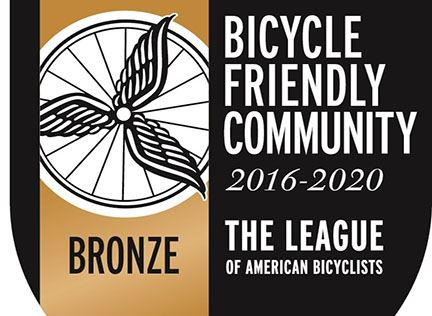 Bronze Bicycle Friendly Community 2016 to 2020 from The League of American Bicyclists